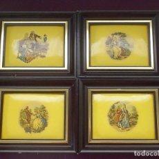 Vintage: LOTE 4 CUADROS ESMALTE LACADO-CON ESCENAS ROMANTICAS-FIRMADOS-AÑOS 50-60. Lote 171995263
