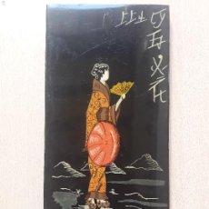 Vintage: CUADRO DIBUJO GEISHA- TABLA MADERA LACADA- CHINA JAPON FIRMADO. Lote 172014357
