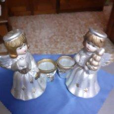 Vintage: FIGURA; ANGELES/ANGELITOS PORTAVELAS.- JUEGO DE 2 DIFERENTES.-. Lote 172637622
