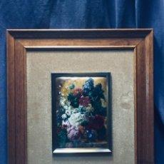 Vintage: ESMALTE PINTURA COBRE RAMO FLORES NICOLAU ESMALTES ROSAS DALIAS LILAS JACOBBER 40X35CMS. Lote 172795352