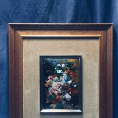Vintage: ESMALTE PINTURA SOBRE COBRE RAMO FLORES NICOLAU ESMALTES ARTISTICOS BARCELONA VAN OS 40X35CMS. Lote 172795528