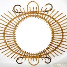 Vintage: MUY RARO ESPEJO SOL CAÑAS RATTAN MIDCENTURY PERFECTO ESTADO . Lote 172956090