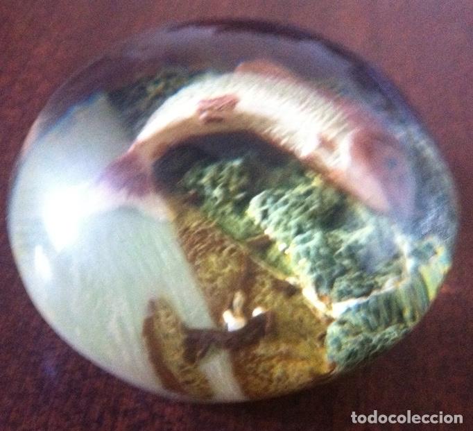Vintage: Bola pisapapeles de resina pulimentada, escena pesca de la trucha - Años 70, vintage - Foto 2 - 173438728