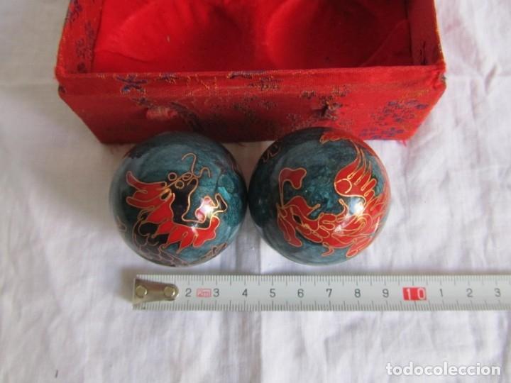 Bolas Chinas Metálicas Relajantes Esmaltadas Decoración Dragones