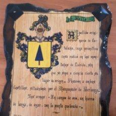 Vintage: PRECIOSO TABLA MADERA MACIZA APELLIDO RELLO. Lote 173674173
