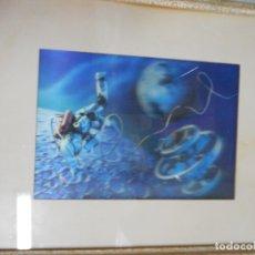 Vintage: ANTIGUO CUADRO CON HOLOGRAMA ASTRONAUTA EN EL ESPACIO. Lote 173868595