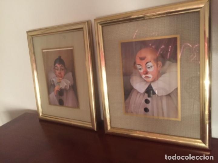 Vintage: Cuadros payasos laminas con marcos paspartú metal dorados con Cristal 30x25cm - Foto 3 - 174004627