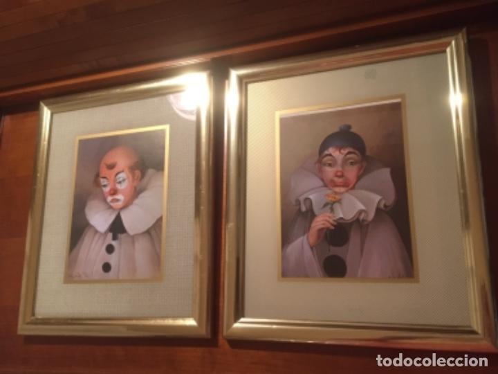 Vintage: Cuadros payasos laminas con marcos paspartú metal dorados con Cristal 30x25cm - Foto 4 - 174004627