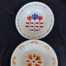 Vintage: PLATOS DE METAL ESMALTADO 22 CM MOTIVO FLORES. Lote 174043437
