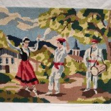 Vintage: CUADRO BORDADO A PUNTO DE CRUZ - MOTIVO DANZA ESPAÑOLA, BAILE LA JOTA, BAILARINES. Lote 174592559
