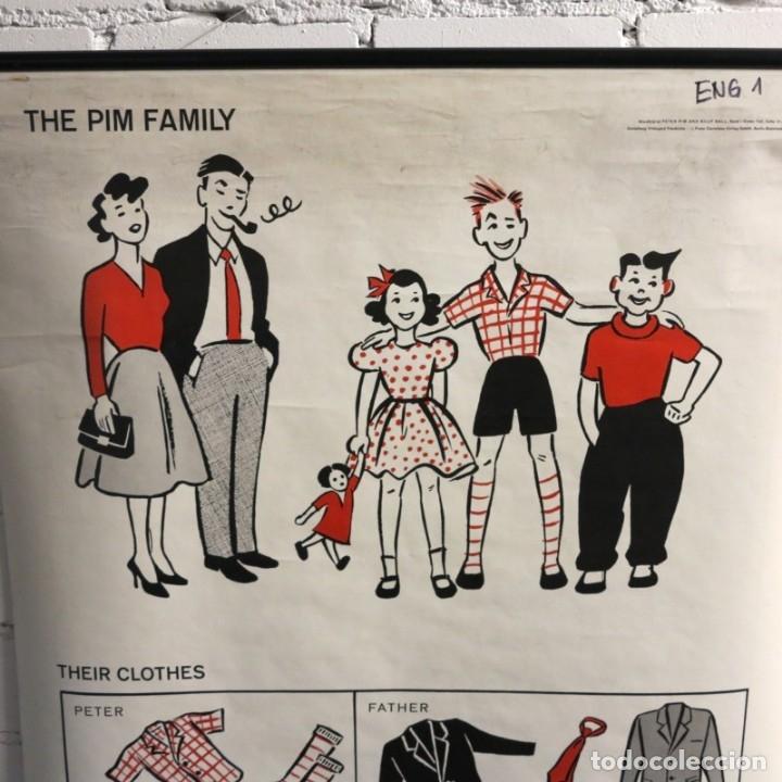 Vintage: Vintage. Familia Pim cartel de Hildegard Friedrichs para clases de ingles. 1950 - 1959 - Foto 2 - 176380939