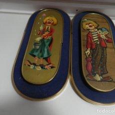 Vintage: PAREJA DE CUADROS OVALADOS CON TERCIOPELO DE PAYASOS , VINTAGE AÑOS 60. Lote 176460135