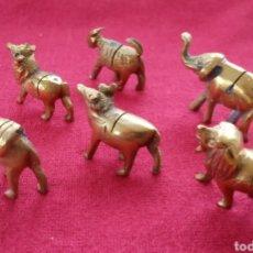 Vintage: CONJUNTO DE 6 MINIATUTAS EN BRONCE DE ANIMALES AFRICANOS.PARA TARJETAS EN LA MESA.. Lote 176540999