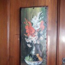 Vintage: BONITO CUADRO LAMINA BODEGÓN LACADA Y PEGADA EN MADERA.. Lote 178232787