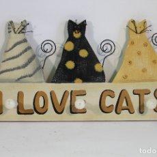 Vintage: PERCHA PERCHERO I LOVE CATS. Lote 179132585