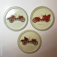 Vintage: POSAVASOS METAL COCHES ANTIGUOS 9CMS. Lote 179336420