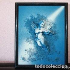 Vintage: CUADRO EN RELIEVE DE UN ANGEL TOCANDO. Lote 179516745