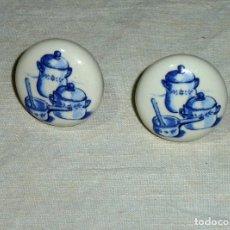 Vintage: POMOS TIRADORES DE PORCELANA DECORADOS.SIN USO.. Lote 180040786