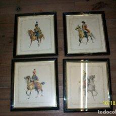 Vintage: LOTE DE 4 CUADROS DE CABALLERIA. Lote 180244078