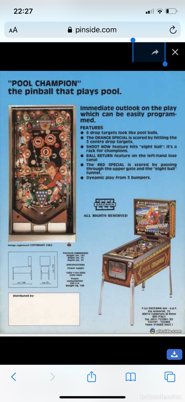 Vintage: Pinball Zaccaria pool champion diciembre 1985 - Foto 20 - 176867094