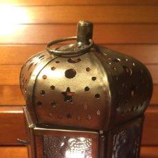 Vintage: PEQUEÑO CANDIL MORUNO ARABISCH METAL CRISTALES COLORES. Lote 181478062