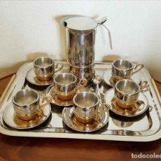 Vintage: JUEGO ANTIGUO DE CAFE ACERO INOXIDABLE 18/10, NUEVO. Lote 181736788
