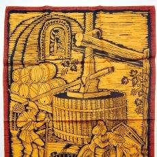 Vintage: TELA CON ILUSTRACIÓN GRABADO PRODUCCIÓN CHAMPAGNE - FRANCIA - AÑOS 60. Lote 182127148