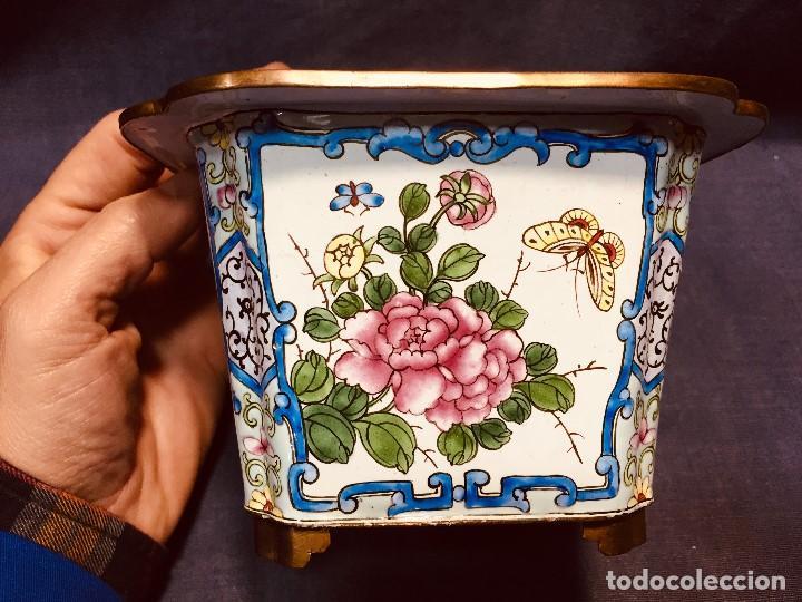 Vintage: JARDINERA CHINA COBRE DORADO ESMALTADO PINTADO A MANO 10 CM ALTO 2ª MITAD S XX - Foto 3 - 183362115
