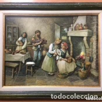 CUADRO TRIDIMENSIONAL EN RELIEVE 3D ESMALTADO CON CAPAS SOBREPUESTAS. ESCENA CASERA (Vintage - Decoración - Varios)