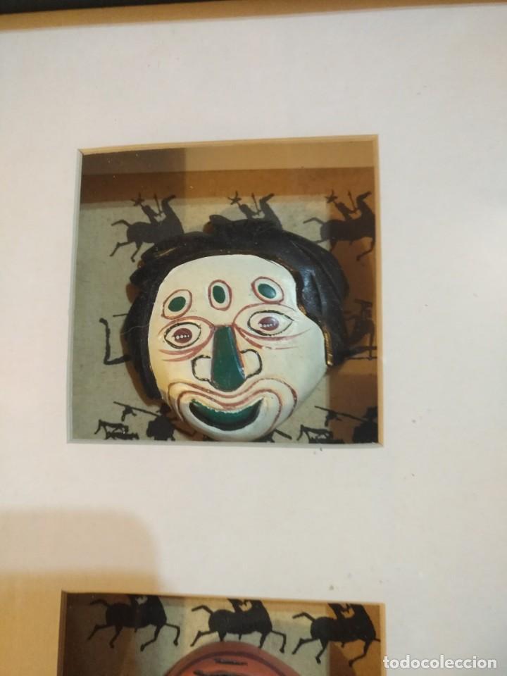 Vintage: Cuadro marco madera con cristal y paspartú con tres pequeñas máscaras - 1 - Foto 2 - 184726101