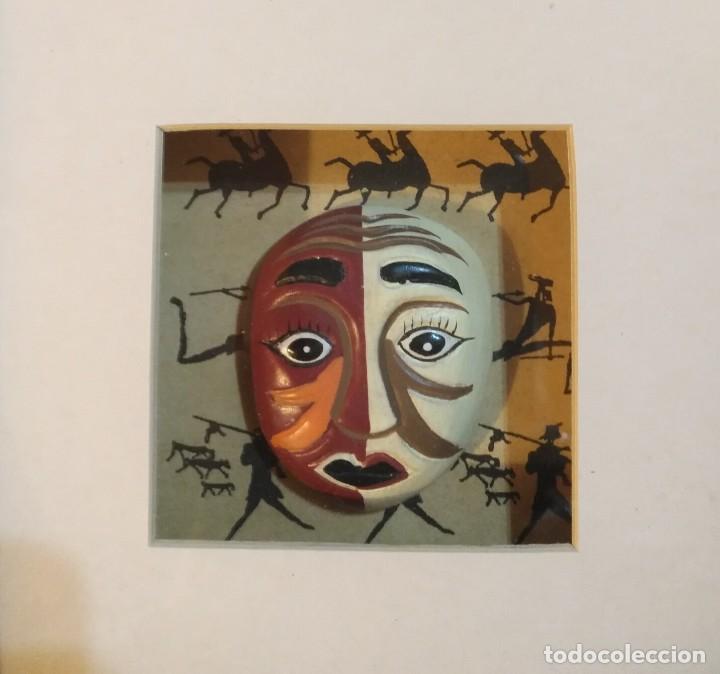 Vintage: Cuadro marco madera con cristal y paspartú con tres pequeñas máscaras - 1 - Foto 4 - 184726101
