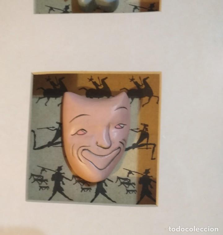 Vintage: Cuadro marco madera con cristal y paspartú con tres pequeñas máscaras - 2 - Foto 3 - 184727083