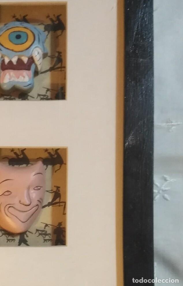 Vintage: Cuadro marco madera con cristal y paspartú con tres pequeñas máscaras - 2 - Foto 5 - 184727083