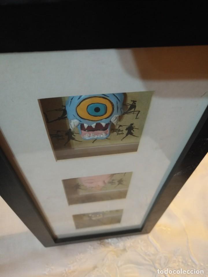 Vintage: Cuadro marco madera con cristal y paspartú con tres pequeñas máscaras - 2 - Foto 6 - 184727083