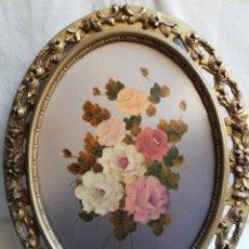 Vintage: MARCO OVALADO EN RESINA. OLEO SOBRE TABLA. TALLADO Y CALADO. ROSAS.. Lote 186357667
