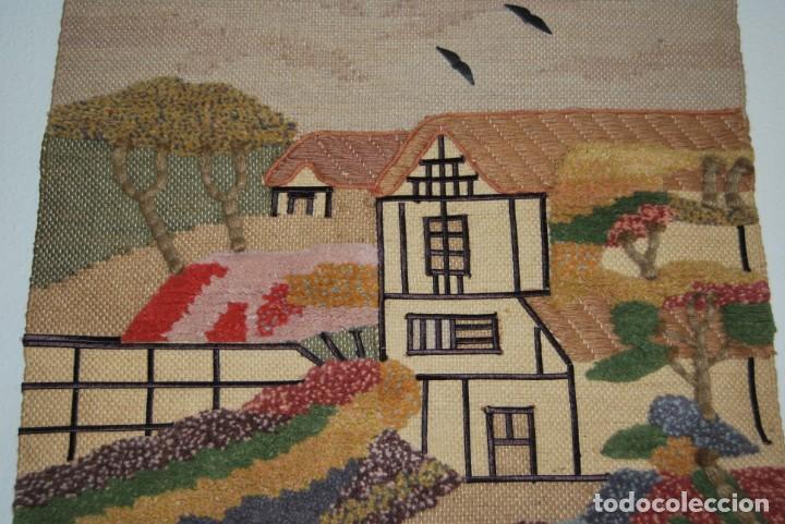 Vintage: PRECIOSO TAPIZ DE YUTE, LANA Y ALGODÓN - FRANCIA - PAISAJE RURAL - AÑOS 70 - Foto 4 - 188738493