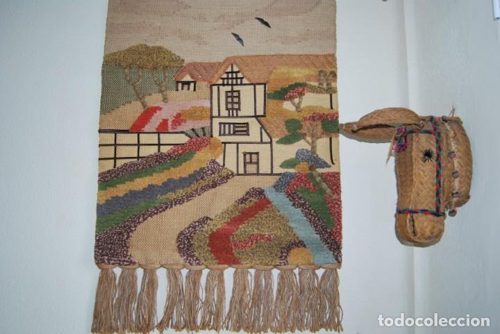 Vintage: PRECIOSO TAPIZ DE YUTE, LANA Y ALGODÓN - FRANCIA - PAISAJE RURAL - AÑOS 70 - Foto 10 - 188738493