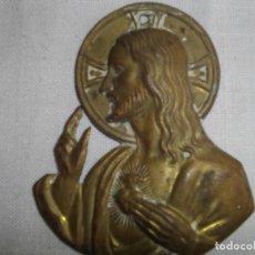 Vintage: ANTIGUO CORAZÓN DE JESÚS EN CHAPA DE METAL PARA COLOCAR EN PUERTAS DE ENTRADAS.. Lote 189420723
