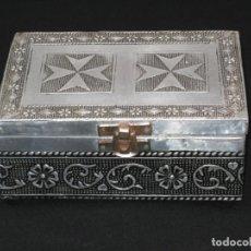 Vintage: CAJA JOYERO FORRADO EN METAL PLATEADO. 15X10X6,5CM.. Lote 189966225