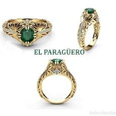 Vintage: SOLITARIO VINTAGE DE ORO AMARILLO DE 24 KILATS LAMINADO CON ESMERALDA-HAY MAS PREGUNTA TU TALLA-N985. Lote 208898035