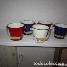 Vintage: 5 CUBOS PEQUEÑOS PARA VINO DE METAL. Lote 190934926