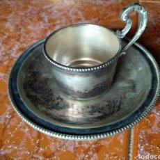 Vintage: TAZA Y PLATO ALPACA. Lote 191182311