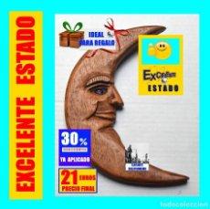 Vintage: PRECIOSA LUNA TALLADA EN MADERA NOBLE - OJO DE CRISTAL - SUMAMENTE DETALLADA - AÑOS 70 - EXCELENTE. Lote 191657915