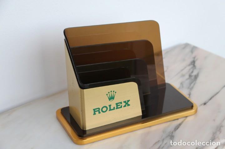 Vintage: Portatarjetas original de Rolex para escritorio, soporte de folleto, vintage ca. 1980 - Foto 2 - 194247648