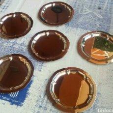 Vintage: JUEGO LOTE 6 BONITOS PLATOS DE PAN DE ACERO INOXIDABLE - NUEVOS. Lote 194292590