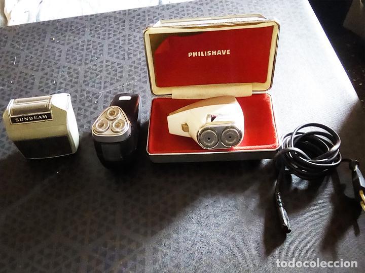 3 MAQUINILLAS ELECTRICAS DE AFEITAR VINTAGE - PHILIPS PHILISHAVE SC 7910E-01 Y SUNBEAM G9- AÑOS 60 (Vintage - Varios)