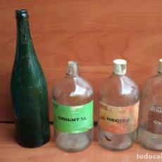Vintage: LOTE DE BOTELLAS DE CRISTAL ANTIGUAS AGUA CON GAS Y COLONIA LITRO. Lote 194362382