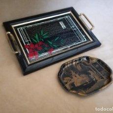 Vintage: LOTE DE 2 BANDEJAS VINTAGE, METAL, MADERA, PLÁSTICO Y CRISTAL. Lote 194400558