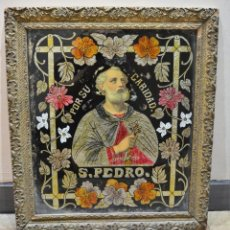 Vintage: CUADRO RELIGIOSO EN ESPEJO CON MARCO MADERA TALLADA DE SAN PEDRO HECHO A MANO VINTAGE. Lote 194712296