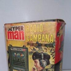 Vintage: - GEYPER MAN - RADIO CAMPAÑA , 2 DISCOS - AURICULARES - PRISMATICOS - CAMISA Y PIEL CAMUFLAGE- 1975 . Lote 194770110